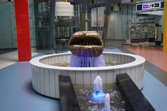 Original fountain in the supermarket. Murmansk Stock Photos
