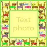 Original frame for photos and text. Picture of pretty colorful kittens. The frame is suitable for gift for both adults and royalty free illustration
