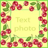 Original frame for photos and text. Sweet juicy cherry berries create a festive mood. A perfect gift for children and adults. Vector illustration vector illustration