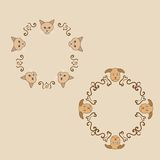 Original frames with cat and dog. Vector illustration Stock Image