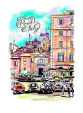 Original freehand watercolor travel card from Rome Italy with ha Stock Photos