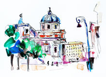 Original freehand watercolor travel card from Rome Italy, old it Stock Photos