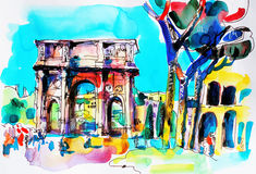 Original freehand watercolor travel card from Rome Italy, old it Stock Photography