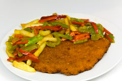 Original fried breaded Veal Viennese (could be eit Royalty Free Stock Photo