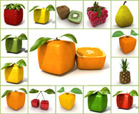 Original  fruit collage Royalty Free Stock Photos