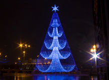 Original fur-tree of the lights. Magic modern fur-tree in Moscow Stock Images