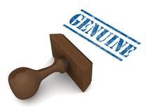 Genuine. Original or genuine stamp on white background, grunge rubber stamp in blue, wooden stamp piece Stock Photo