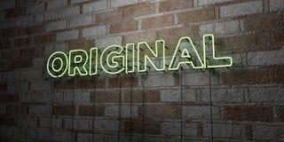ORIGINAL - Glödande neontecken på stenhuggeriarbeteväggen - 3D framförde den fria materielillustrationen för royalty Royaltyfri Bild