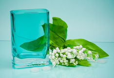 Original glass vase and small flowers on blue Stock Image
