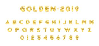 Original Gold shining font. Golden alphabet with letters and numerals for holiday design. Flat illustration EPS10.  vector illustration