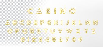 Original Gold shining font. Golden alphabet with letters and numerals for holiday design. Flat illustration EPS10.  royalty free illustration
