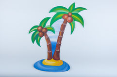 Original gouache drawing of a palm tree with coconuts Royalty Free Stock Photos
