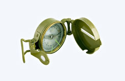 Original GPS System. Hand held explorers compass with cover and latch Royalty Free Stock Image
