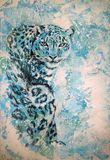 Original graphics, snow leopard sits on a light background royalty free illustration
