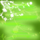 Original green textured background with glowing white flowers in the corner Stock Images