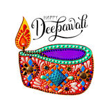 Original greeting card to deepavali festival with diya jewels pa. Inting and hand lettering inscription happy deepawali, calligraphy vector illustration Stock Photos