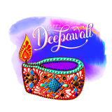 Original greeting card to deepavali festival with diya jewels pa. Inting and hand lettering inscription happy deepawali, calligraphy vector illustration Stock Image