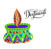 Original greeting card to deepavali festival with diya jewels pa. Inting and hand lettering inscription happy diwali, calligraphy vector illustration Stock Image