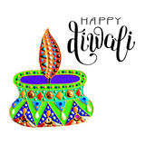 Original greeting card to deepavali festival with diya jewels pa. Inting and hand lettering inscription happy diwali, calligraphy vector illustration Stock Photography
