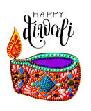 Original greeting card to deepavali festival with diya jewels pa. Inting and hand lettering inscription happy diwali, vector illustration Stock Photos