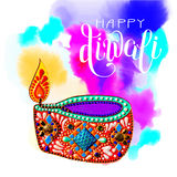 Original greeting card to deepavali festival with diya jewels. Painting and hand lettering inscription happy diwali on watercolor background, calligraphy vector Royalty Free Stock Images