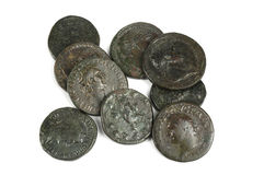 Original group of ancient Roman coins. Archaeological excavation stock photography