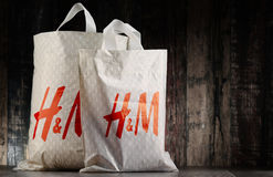 Original H&M plastic shopping bags Royalty Free Stock Images