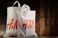 Original H&M plastic shopping bags Stock Photos