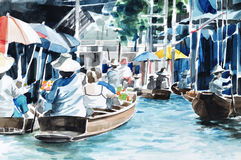 Original hand draw, Floating market Stock Image