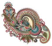 Original hand draw line art ornate flower design. Stock Photo