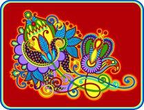 Original hand draw line art ornate flower design. Stock Image