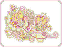 Original hand draw line art ornate flower design Royalty Free Stock Images