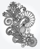 Original hand draw line art ornate flower design Royalty Free Stock Photo