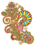 Original hand draw line art ornate flower design Royalty Free Stock Image