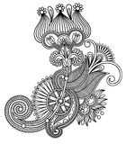 Original hand draw line art ornate flower design. Ukrainian traditional style Stock Photography