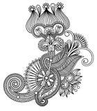 Original hand draw line art ornate flower design Stock Photography