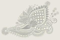 Original hand draw line art ornate flower design Royalty Free Stock Photos