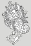 Original hand draw line art ornate flower design Royalty Free Stock Photography