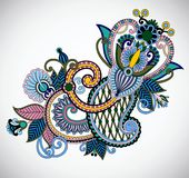 Original hand draw line art ornate flower design. Royalty Free Stock Photos