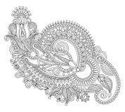 Original hand draw line art ornate flower design. Royalty Free Stock Photos