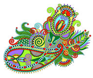 Original hand draw line art ornate flower design. Royalty Free Stock Images