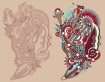 Original hand draw line art ornate flower design Stock Images