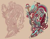 Line Art Flower Design : Original hand draw line art ornate flower design stock vector
