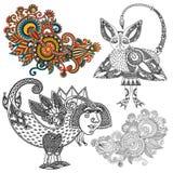 Original hand draw line art ornate flower design. Royalty Free Stock Photo