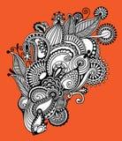 Original hand draw line art ornate flower design Stock Image