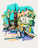Original hand draw marker sketch of Kyiv building landscape Royalty Free Stock Images