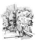 Original hand draw marker sketch of Kyiv building landscape Stock Photo