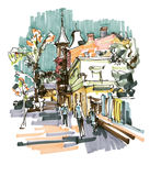 Original hand draw marker sketch of Kyiv building landscape Royalty Free Stock Photos