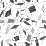 Original hand drawn cubes abstract background, seamless pattern Stock Images