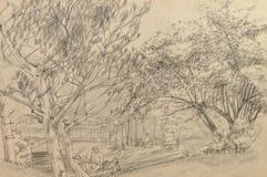 Original hand drawn, landscape Royalty Free Stock Photography